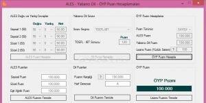 ALES - YDS - KPDS - ÖYP Puan Hesaplama Programı Ekran Görüntüsü