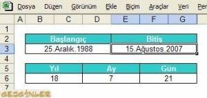 E-Çözüm Excel İle Gün Hesabı Ekran Görüntüsü