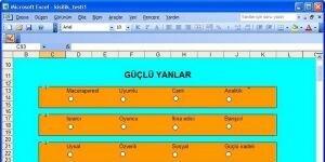 E-Çözüm Excel İle Kişilik Testi Ekran Görüntüsü