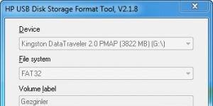 HP USB Disk Storage Format Tool Ekran G�r�nt�s�