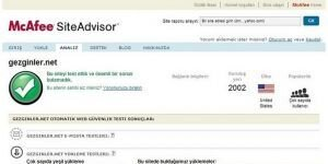 McAfee SiteAdvisor Ekran Görüntüsü