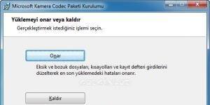 Microsoft Foto�raf Makinesi Codec Paketi Ekran G�r�nt�s�