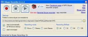 MP3 Skype Recorder Ekran G�r�nt�s�