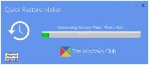 Quick Restore Maker Ekran Görüntüsü