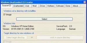 Windows Unattended CD Creator Ekran Görüntüsü
